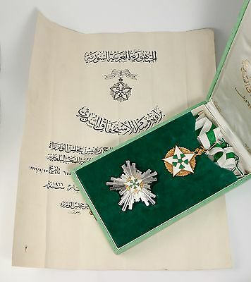 Syria Medal Syrian Order Of Civil Merit Excellent Class  Diploma 1966