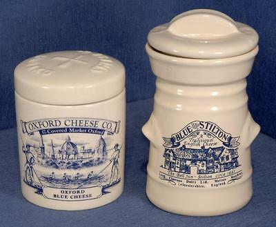 2 x Ceramic Blue Cheese Lidded Pots