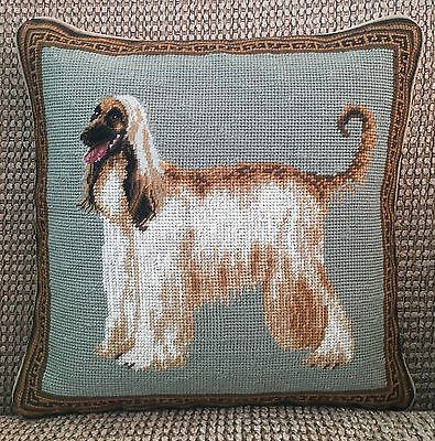 """New Afghan Hound Dog 100% Wool Petite Needlepoint Handmade Pillow 14"""" Square"""