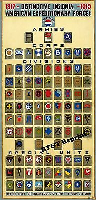 Historical WWI American Expeditionary Forces of Distinctive Insignias 1918  9x19