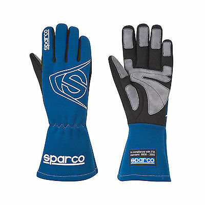 Sparco LAND L-3 Race Gloves Blue FIA Approved - size 8 NEW