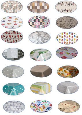 Luxury Pvc Wipe Clean Oval Vinyl Table Cloth Parties Events Plain Kids Occasions