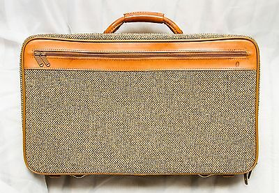Vintage Hartmann Brown Tweed & Leather Carry On Suitcase Luggage Bag Travel