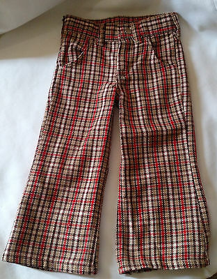Vintage Lil Wrangler Boys Toddler Plaid Slacks Pants Size 3 Slim  U.S.A. Made