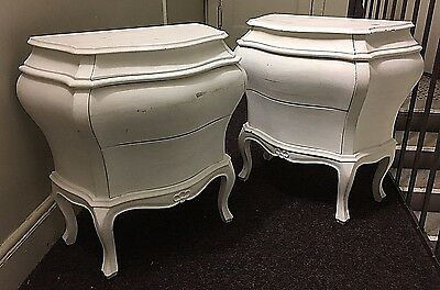 Vintage 50/60s Pair Night/Stands Sides Italian Bombay Commode Baroque Wood White