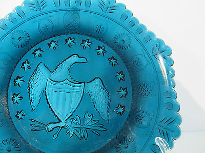 Plate Eagle Indiana Glass Teal Blue Octagon Beaded Edge Stars Vintage EAPG