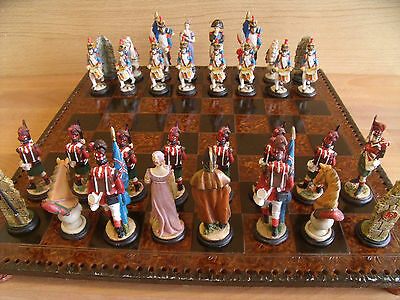 Battle Of Waterloo Soldiers Themed Chess Set Hand Crafted