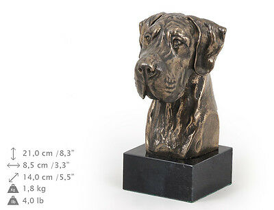 GREAT DANE (UNCROPPED), dog bust marble statue, ArtDog , CA