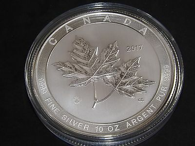 TEN ozt BIG 2017 Canada 10 oz Canadian  $50 silver coin Magnificent Maple Leaf
