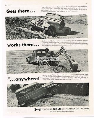 1956 Willys Jeep CJ-5, Truck with Backhoe Attachment, Utility Wagon Vtg Print Ad