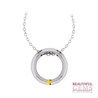 Pendant With 0.2Ct (⅕) Natural Yellow Sapphire In 10Ct White Gold - Y103155009