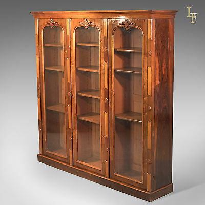 Antique Bookcase, 3 Door Regency Rosewood, Glazed, Large Display Cabinet, c.1830