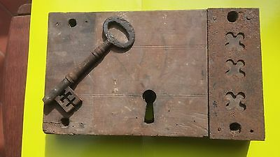 Antique wood and cast iron lock with key