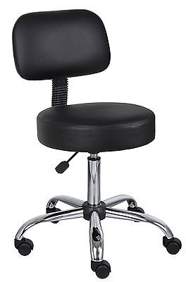 Medical Spa Stool Boss Office Products B245-BK Medical Rolling Chair w/ Back