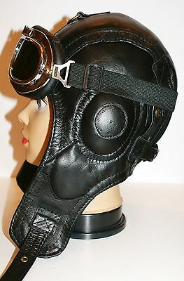WWII Handmade Genuine Leather Pilot,Aviator,Motorcycle Helmet Hat Cap M size