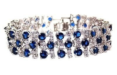 18k White Gold Plated Blue Sapphire And White Topaz 17.45ct Bracelet