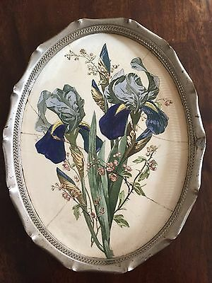 Antique Ceramic & Metal Gallery Tray Platter floral Germany 1900-1940 VINTAGE