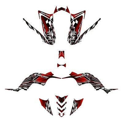 Yamaha Raptor 90 graphics YFM 90R custom QUAD sticker kit #2500 Red
