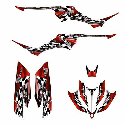 Yamaha Raptor 350 graphics custom racing ATV decal kit N02500 Red