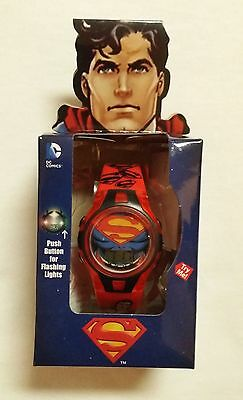New Boys Girls Superman LCD Flashing lights watch Black DC Comics SHIPS FAST!