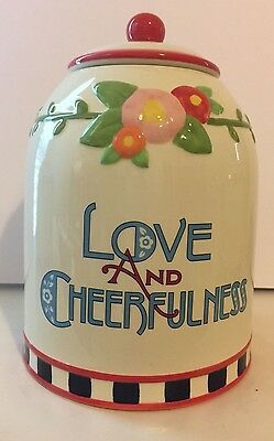 Rare At Home With Mary Engelbreit Canister by Enesco Love And Cheerfulness  2003