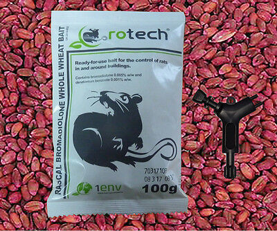 100g Sachet Whole Wheat Professional Grade Rat Bait Poison - SELECT AMOUNT