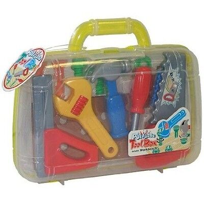 Toy Tool Box Tools Carry Case Pretend Play Screw Hammer Saw Kids Boys Gift Set