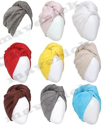 100% Cotton Turbie Twist Hair Wrap Drying Towel Turban Soft Bath Loop Fasten