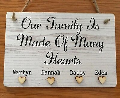 Home Sweet Home Personalised New House Warming Sign Plaque Wooden Gift Hearts