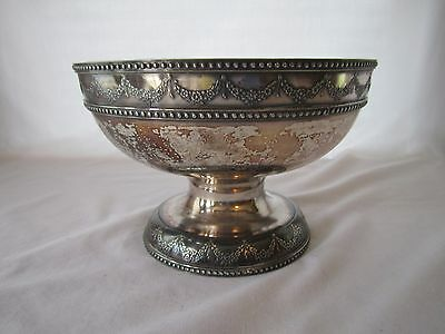 """1860 E.G. Webster & Son Quadruple Silver Plated Footed #275 Compote 8"""" Bowl"""