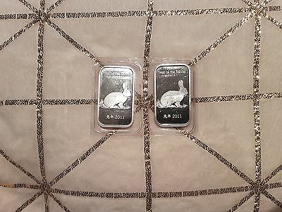 * Last One * 1 Oz Silver 2011 Year Of The Rabbit Bullion Bar By Suisse Gold
