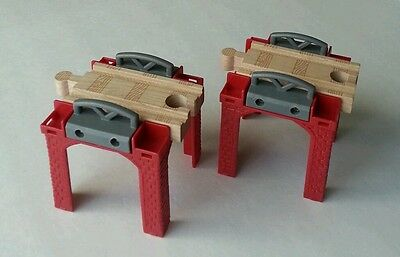 LC Thomas & Friends Wooden Railway Lot of 2 Red Stacking Track Risers