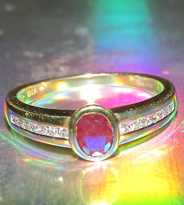 STUNNING SECONDHAND 18ct YELLOW GOLD RUBY AND DIAMONDS  RING SIZE L1/2