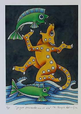 Jaguar Fishing, Etching Hand tinted Natural pigments Reyes Gomez Oaxaca Mexican