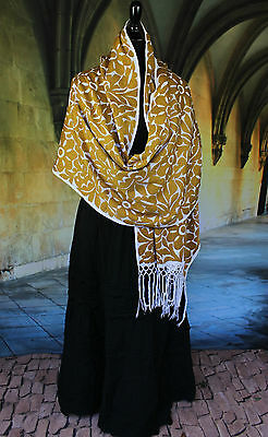 Gold & White Rebozo Shawl Hand Embroidered, Jalapa Mexico Hippie Boho Santa Fe