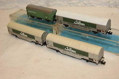 N gauge NEAR MINT 4x Rivarossi Atlas Large Goods Van Aillan & Staufen Brau BOXED