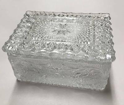 Vintage Duncan & Miller Clear Sandwich Glass Cigarette or Trinket Box with Lid