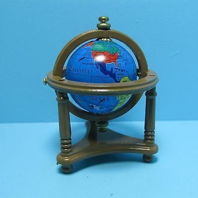 Dollhouse Miniature World Globe Bookends with 3 Books with Pages ~ S1614