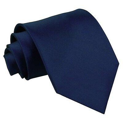 Premium Satin Plain Smooth Wedding Classic Standard Extra Long Tie - Navy Blue