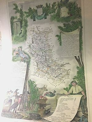 Antque Fine Engraved  Picture  Life In  Loire Valley Wine/food/commerce1854!!