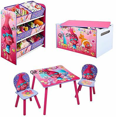 Disney Trolls Kids Childrens Bedroom Storage Table And 2 Chair, Toy Box,