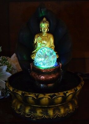 Golden Buddha Vintage Colour Changing LED Indoor Water Fountain Home Decor