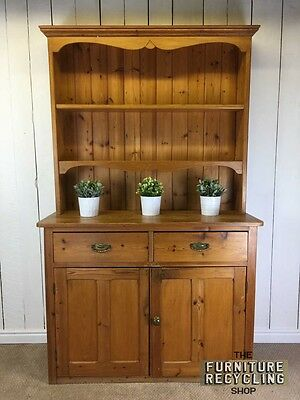 Farmhouse Pine Dresser. Solid Wood Rustic Welsh Dresser. Kitchen Storage.