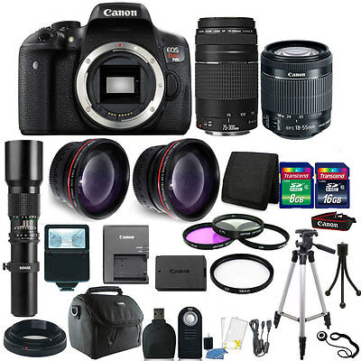 Canon EOS Rebel T6i/750D 24.2MP DSLR Camera E-FS 18-55mm + 75-300mm Accessories