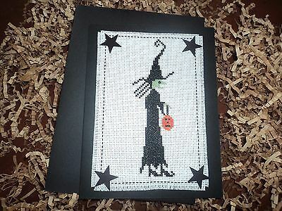Complete The Primitive Needle Salem Witch Halloween Card stars bead JackOlantern