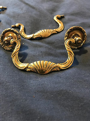 Set of 3 Antique brass swan handles quaility fancy ornate old original vintage