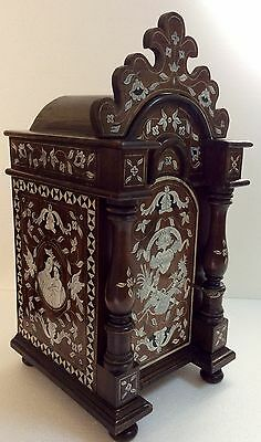 Antique tabernacle, wood marquetry ivory, ebony, excellent 1900s
