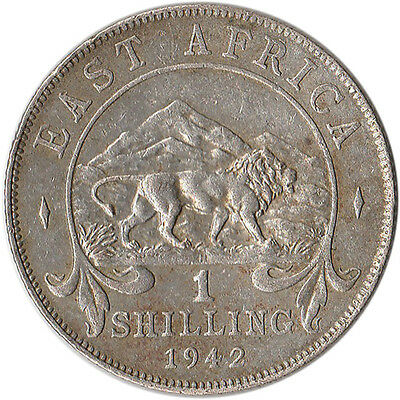 1942 (H) East Africa (British) 1 Shilling Silver Coin KM#28.1