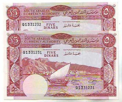 Yemen Democratic Republic 5 Dinars N/D 1965 UNC ( 2 Notes Numbers followed )