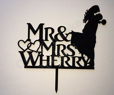 Wedding Cake Topper - Personalised Surname - Bride and Groom Silhouette - Black